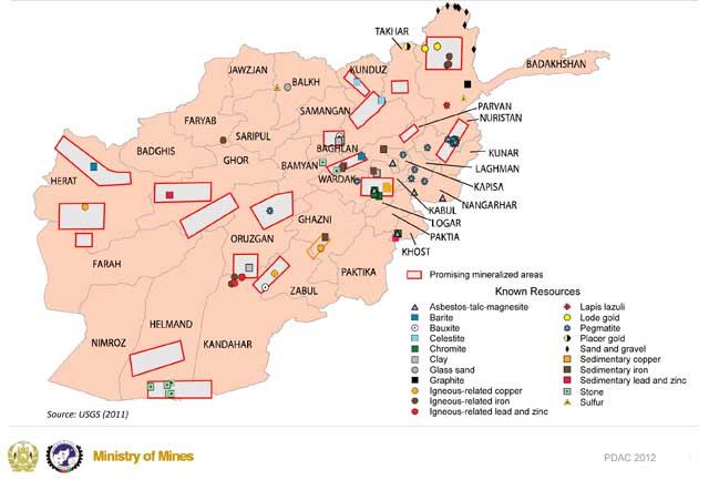 Карта потенциальных минеральных ресурсов Афганистана
